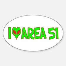 I Love-Alien Area 51 Oval Decal