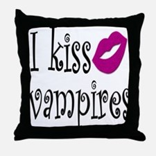 I Kiss Vampires Throw Pillow