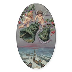 Christmas Cherubs Oval Sticker (10 pk)