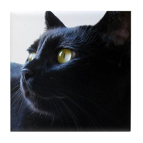 Black Cat in Profile Tile Coaster