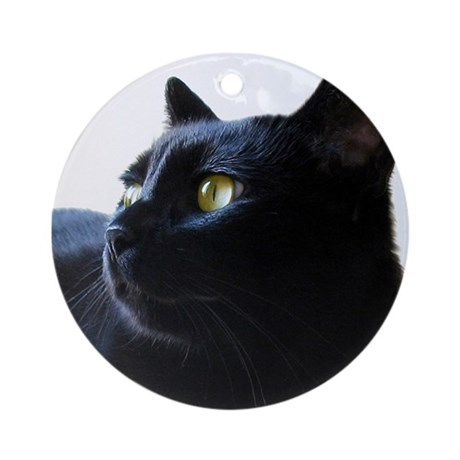 Black Cat in Profile Ornament (Round)