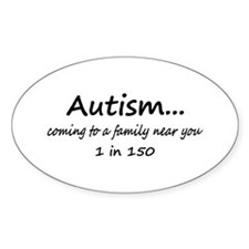 Autism, Coming To A Family Near You Oval Decal