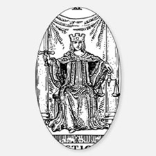 Justice Tarot Card Oval Decal