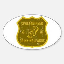 Civil Engineer Drinking League Oval Decal