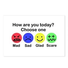 Mad,Sad,Glad & Scare Postcards (Package of 8)