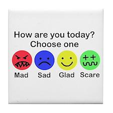 Mad,Sad,Glad & Scare Tile Coaster