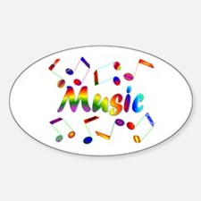 Music Notes Oval Decal