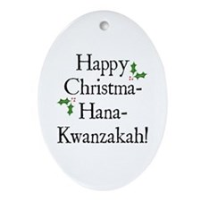 Happy Holiday Greeting Oval Ornament