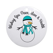 Christmas Snowman PCOS Ornament (Round)
