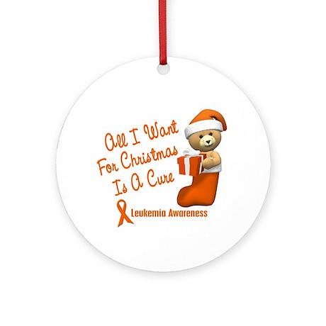 Bear In Stocking 1 (Leukemia) Ornament (Round)