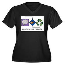 Cogito Ergo Recycle Women's Plus Size V-Neck Dark