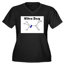 Nitro Dog Women's Plus Size V-Neck Dark T-Shirt