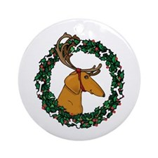 Red Weindeer Dacshund Ornament (Round)