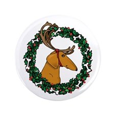 "Red Weindeer Dacshund 3.5"" Button"