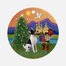 Toy Fox Terrier Christmas Fantasy Ornament (Round)