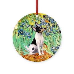 Toy Fox Terrier in Irises Ornament (Round)