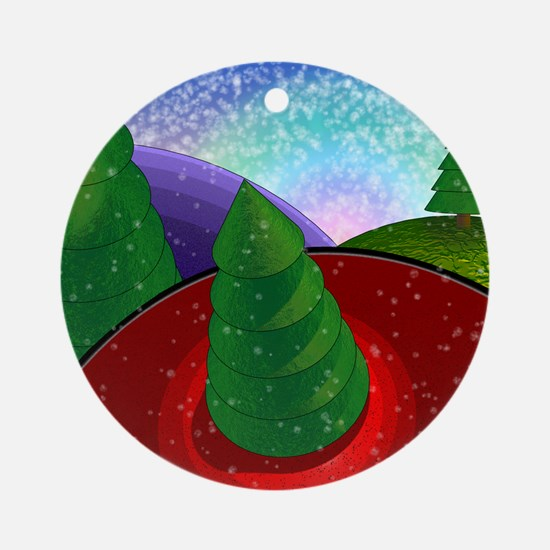 Christmas Trees with Snow Ornament (Round)
