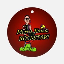 """Merry Xmas Rockstar!"" Ornament (Round)"
