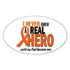 Never Knew A Hero 2 ORANGE (Dad) Oval Decal
