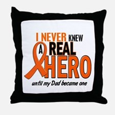 Never Knew A Hero 2 ORANGE (Dad) Throw Pillow