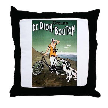 Bicycle Girl & Dog Throw Pillow