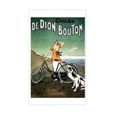 Bicycle Girl & Dog Rectangle Decal