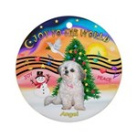 XmasMusic2 /Angel, the family dog ornament (Round)