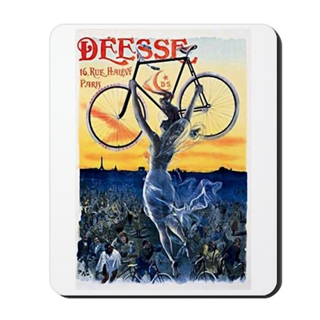 Vintage Bicycle Girl Mousepad