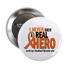 "Never Knew A Hero 2 ORANGE (Husband) 2.25"" Button"