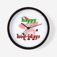 happy hog-idays Wall Clock