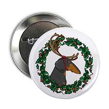 """Reindeer BT Weiner Dog 2.25"""" Button"""