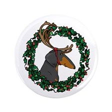 "Reindeer BT Weiner Dog 3.5"" Button"