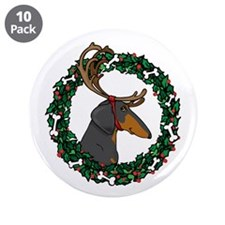 "Reindeer BT Weiner Dog 3.5"" Button (10 pack)"