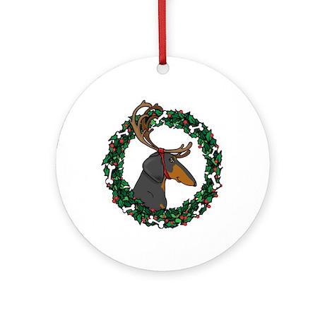 Reindeer BT Weiner Dog Ornament (Round)