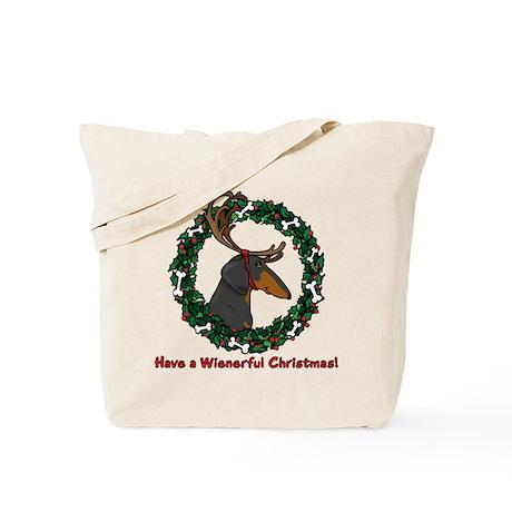 Reindeer BT Weiner Dog Tote Bag