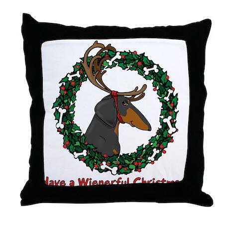 Reindeer BT Weiner Dog Throw Pillow
