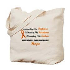 Supporting Admiring Honoring 1 LEUKEMIA Tote Bag