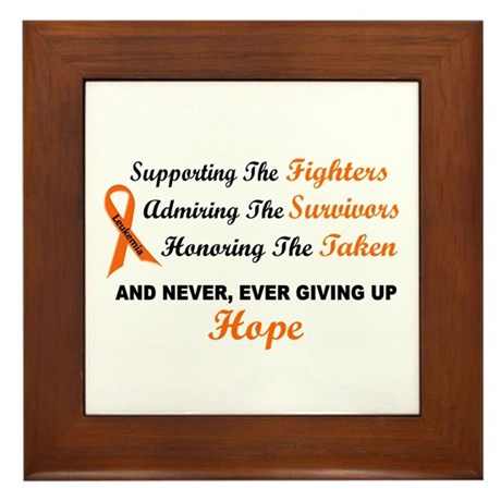 Supporting Admiring Honoring 1 LEUKEMIA Framed Til