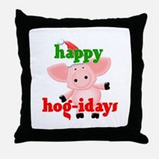 happy hog-idays Throw Pillow