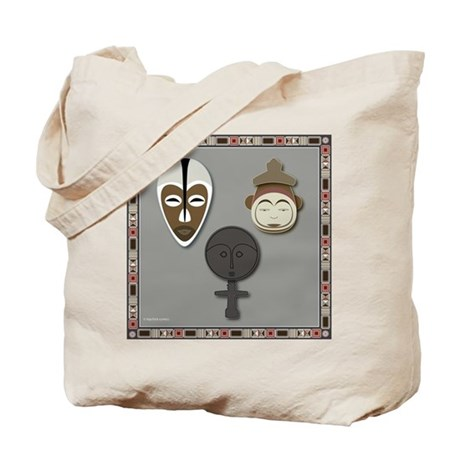 Yoruba and Ashanti Masks_grey Tote Bag