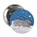 Rabbit in Winter snow Button
