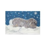 Rabbit in Winter snow Rectangle Magnet (10 pack)