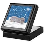 Rabbit in Winter snow Keepsake Box