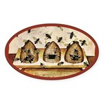 Vintage Bees (ts) Oval Sticker (10 pk)