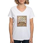 Vintage Bees (ts) Women's V-Neck T-Shirt