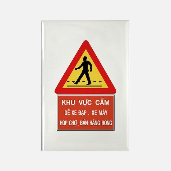 Pedestrian Crossing w/text, Vietnam Rectangle Magn
