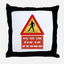 Pedestrian Crossing w/text, Vietnam Throw Pillow