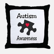 Autism Awareness (Black/Red Heart) Throw Pillow