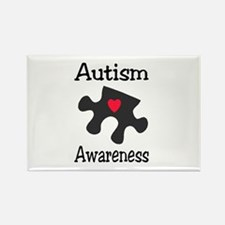 Autism Awareness (Black/Red Heart) Rectangle Magne