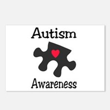 Autism Awareness (Black/Red Heart) Postcards (Pack